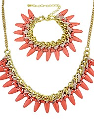 cheap -Women's Chain Bracelet Collar Necklace Rivet Stylish Fashion Earrings Jewelry Red For Daily 1 set
