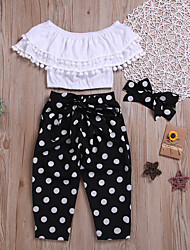 cheap -Kids Girls' Boho Street chic Solid Colored Polka Dot Lace Backless Sleeveless Regular Regular Cotton Clothing Set White