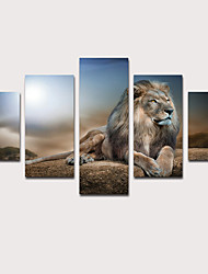 cheap -Print Stretched Canvas Prints - Landscape Animals Classic Modern Five Panels Art Prints