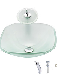 cheap -Bathroom Sink / Bathroom Mounting Ring / Bathroom Water Drain Contemporary - Tempered Glass Square Vessel Sink