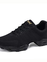 cheap -Men's Dance Shoes Knit / Mesh Dance Sneakers Sneaker Flat Heel Customizable White / Black