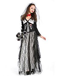 cheap -Vampire Dress Cosplay Costume Adults' Female Dresses Halloween Halloween Carnival Masquerade Festival / Holiday Satin / Tulle Terylene Black Female Carnival Costumes Cool Skulls