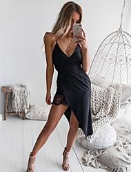 cheap -Women's Asymmetrical Black Dress Elegant A Line Solid Colored Strap Lace S M