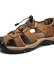 cheap -Men's Leather Shoes Cowhide Summer Sporty / Casual Sandals Hiking Shoes / Water Shoes Non-slipping Black / Dark Brown / Yellow / Outdoor