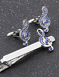 cheap -Cufflinks Tie Clips Music Notes Formal Fashion Brooch Jewelry Silver For Daily Work