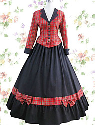 cheap -Vintage Princess Lolita Rococo Dress Cosplay Costume Female Japanese Cosplay Costumes Black / Red Patchwork Long Sleeve Maxi Long Length / Victorian