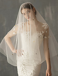 cheap -Two-tier Stylish Wedding Veil Elbow Veils with Trim Tulle / Classic