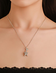 cheap -Women's Cubic Zirconia Pendant Necklace Bead Necklace Tower Letter Eiffel Tower European Trendy Fashion Modern Chrome Silver 52 cm Necklace Jewelry 1pc For Daily Holiday Street Work