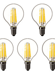 cheap -5pcs 4 W LED Globe Bulbs LED Filament Bulbs 450 lm E14 E26 / E27 G45 6 LED Beads High Power LED Decorative Warm White 220-240 V 220 V 230 V
