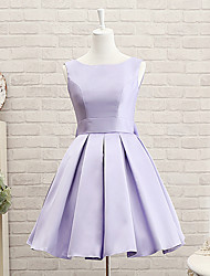 cheap -A-Line Jewel Neck Short Length Satin Bridesmaid Dress with