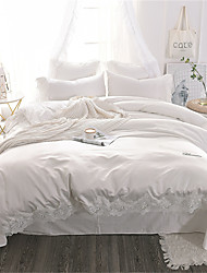 cheap -Duvet Cover Sets Solid Colored / Luxury Polyster Embroidery 4 PieceBedding Sets