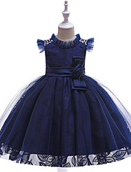 cheap -Ball Gown / Princess Knee Length Flower Girl Dress - Tulle / Poly&Cotton Blend Sleeveless Jewel Neck with Bow(s) / Lace / Sash / Ribbon / Formal Evening