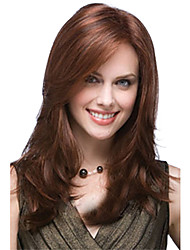 cheap -Synthetic Wig Bangs kinky Straight Side Part Wig Long Brown / Burgundy Synthetic Hair 20 inch Women's Fashionable Design Smooth Women Brown