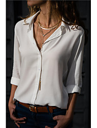 cheap -Women's Blouse - Solid Colored Shirt Collar Gray
