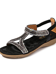 cheap -Women's Sandals Wedge Sandals Flat Sandal Summer Flat Heel Open Toe Sweet Daily Beach Rhinestone Solid Colored PU Black / Pink / Gold