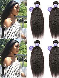 Недорогие -4 Связки Перуанские волосы Вытянутые Не подвергавшиеся окрашиванию 100% Remy Hair Weave Bundles 200 g Головные уборы Человека ткет Волосы Пучок волос 8-28 дюймовый Нейтральный Ткет человеческих волос