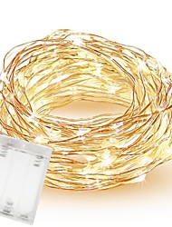 cheap -10m 33ft 100 Led SMD 0603 Fairy Lights Cuttable AA Batteries Operated Waterproof Copper Wire Twinkle Creative String Lights for Bedroom Indoor Outdoor Wedding Dorm Decor
