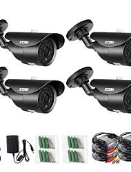 cheap -ZOSI 4 PCS 2MP 1080P TVI/AHD/CVI/CVBS 1/3 Inch CMOS Bullet Cameras / IR Camera H.264 IP66 Weatherproof Security Cameras Kits