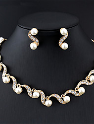 cheap -Women's White Bridal Jewelry Sets S Shaped Alphabet Shape Simple Classic Fashion Cute Bridal Imitation Pearl Earrings Jewelry Gold For Wedding Party Engagement Gift 1 set