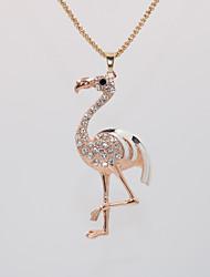 Недорогие -Жен. Ожерелья с подвесками Цепочка длинное ожерелье Классический Животный принт Фламинго Уникальный дизайн модный Романтика Мода Хром Позолоченное розовым золотом Белый Розовый 70 cm Ожерелье