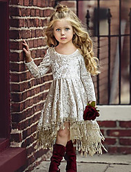 cheap -Baby Girls' Active / Street chic Solid Colored Lace Long Sleeve Asymmetrical Cotton Dress Beige / Toddler