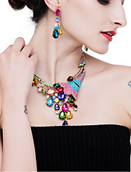 cheap -Women's Crystal High End Crystal Drop Earrings Necklace Rainbow Peacock Sweet Elegant Color Imitation Diamond Earrings Jewelry Dark Blue / Rainbow / Pink For Wedding Party 1 set