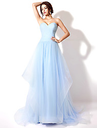 cheap -A-Line Sweetheart Neckline Court Train Tulle Open Back / Pastel Colors Formal Evening Dress with Ruched 2020