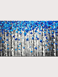 cheap -STYLEDECOR Hand Painted Abstract Blue Forest Oil Painting on Canvas for Home Decor