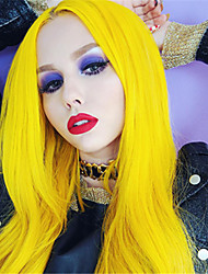 cheap -Synthetic Lace Front Wig Straight Minaj Middle Part Lace Front Wig Long Yellow Synthetic Hair 24 inch Women's Synthetic Easy dressing New Arrival Red