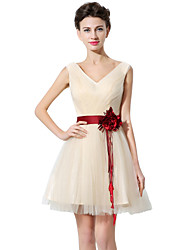 cheap -A-Line V Neck Short / Mini Tulle Bridesmaid Dress with Sash / Ribbon / Criss Cross