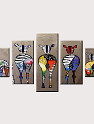 cheap -Print Rolled Canvas Prints Stretched Canvas Prints - Animals Modern Vintage Modern Five Panels Art Prints