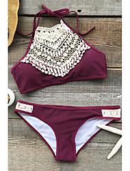 cheap -Women's Lace Boho Halter Neck Black Wine Crop Top Briefs Bikini Swimwear - Solid Colored Black & White M L XL Black / Sexy