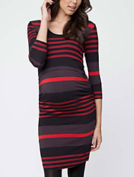 cheap -Women's Above Knee Maternity Red Blue Dress Bodycon S M