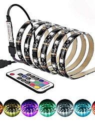 cheap -5 meter LED Light Strips Flexible Tiktok Lights TV backlight 150LED 10mm epoxy waterproof multi-color USB TV backlight with infrared controller 17Keys remote Halloween TV computer background l