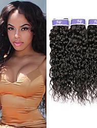 cheap -3 Bundles Malaysian Hair Water Wave Virgin Human Hair 100% Remy Hair Weave Bundles Headpiece Natural Color Hair Weaves / Hair Bulk Bundle Hair 8-28 inch Natural Human Hair Weaves Easy to Carry Women