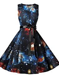 cheap -Women's Black Dress Elegant Vintage A Line Sheath Little Black Color Block Rainbow Bow Patchwork Print S M