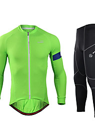 cheap -Mountainpeak Men's Long Sleeve Cycling Jersey with Tights Winter Spandex Mineral Green Violet Black Bike Clothing Suit UV Resistant Breathable Quick Dry Moisture Wicking Sports Letter & Number