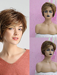 cheap -Synthetic Wig Straight Natural Straight Pixie Cut Layered Haircut Asymmetrical Wig Short Brown Synthetic Hair 10 inch Women's Fashionable Design Synthetic Hot Sale Brown HAIR CUBE / Natural Hairline