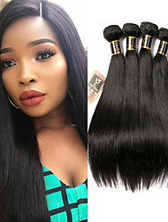 cheap -4 Bundles Hair Weaves Brazilian Hair Straight Human Hair Extensions Remy Human Hair 100% Remy Hair Weave Bundles 400 g Natural Color Hair Weaves / Hair Bulk Human Hair Extensions 8-28 inch Natural