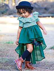 cheap -Kids Girls' Active Cute Geometric Color Block Ruffle Ruched Print 3/4 Length Sleeve Short Sleeve Asymmetrical Dress Green / Cotton