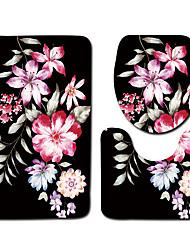 cheap -1 set Classic Bath Mats 100g / m2 Polyester Knit Stretch Floral Print Non-Slip