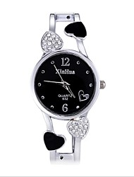 cheap -Women's Bracelet Watch Heart shape Fashion Silver Alloy Chinese Quartz White Black Cute New Design Casual Watch Analog / Stainless Steel