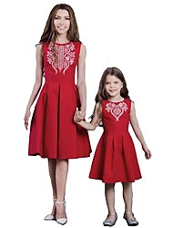 cheap -Mommy and Me Active Basic Solid Colored Geometric Print Sleeveless Regular Knee-length Regular Cotton Dress Red