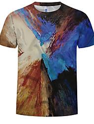 cheap -Men's Plus Size Cotton T-shirt - Color Block Print Round Neck Black