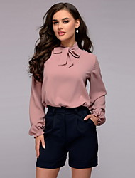 cheap -Women's Daily Wear Date Chic & Modern Blouse - Solid Colored Blushing Pink