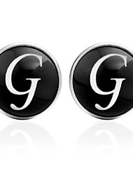 cheap -Cufflinks Alphabet Shape Formal Vintage Brooch Jewelry Black Silver Brown For Daily Festival