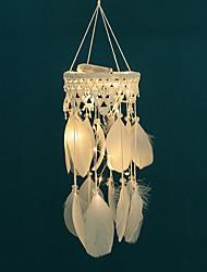 abordables -capteurs de rêve à la main led lumières décorations murales plume blanche
