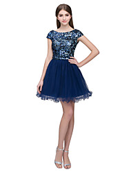 cheap -A-Line Sparkle Blue Homecoming Cocktail Party Dress Jewel Neck Short Sleeve Short / Mini Tulle Sequined with Sequin 2020