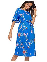 cheap -Women's Maternity Midi Sheath Dress Blue L XL XXL