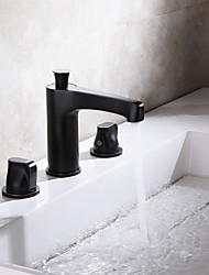 cheap -Bathroom Sink Faucet - Widespread Chrome / Oil-rubbed Bronze Widespread Two Handles Three HolesBath Taps